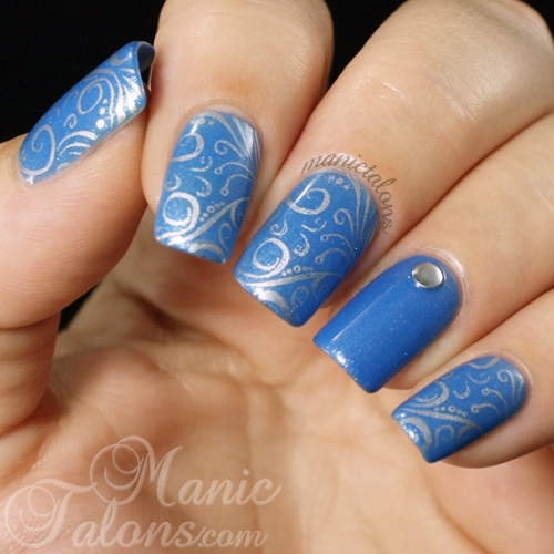 Silver and Blue Stamped Mani