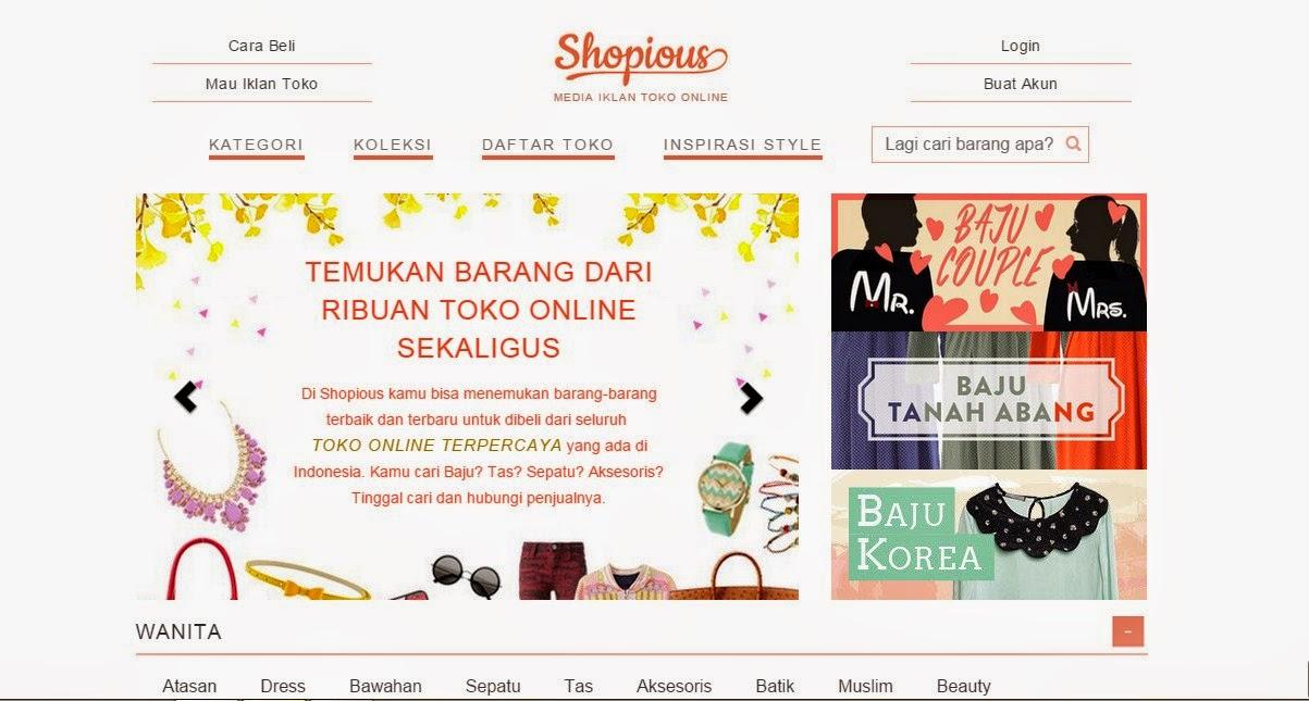 Tampilan Utama Web Shopious.com