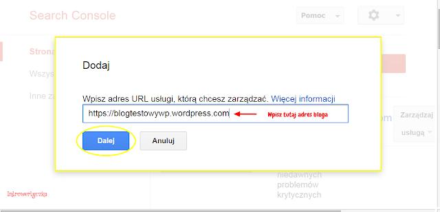 Google Webmaster Tools - dodaj blog