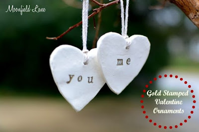 Gold Stamped Valentine's Ornaments