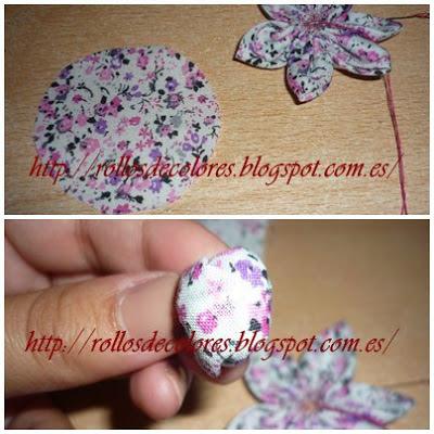 como hacer flores tela