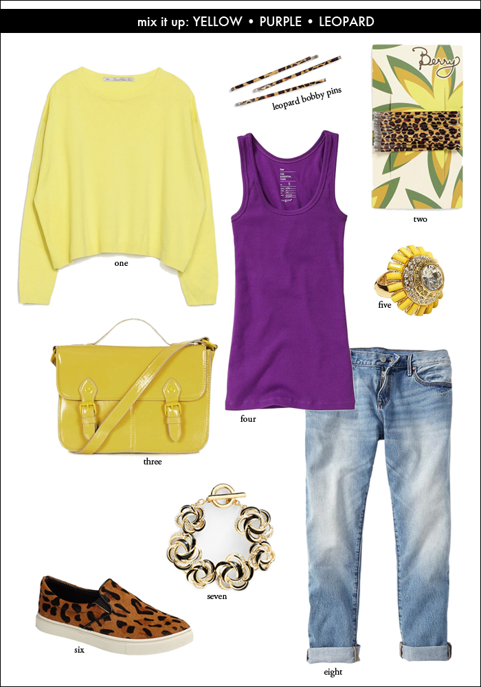 how to wear yellow and purple, distressed denim, topshop, nordstrom, leopard print