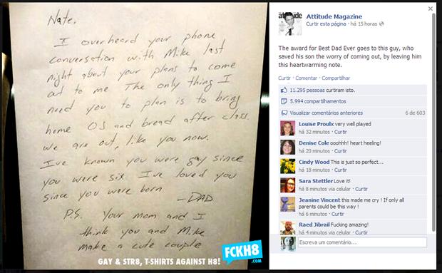 Na carta, pai diz que sempre amou o filho; 'Que pai amoroso', diz um dos comentários (Foto: Reprodução/Facebook)