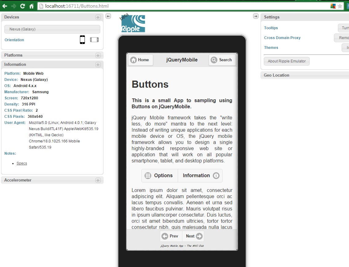 jQueryMobile App  Buttons For Android and BlackBerry