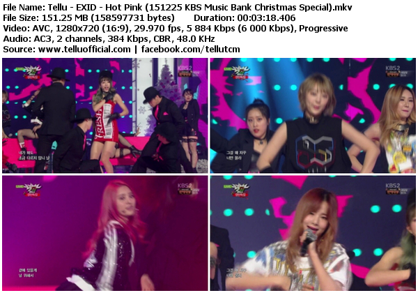 [Perf] EXID – Happy Christmas + Hot Pink (151225 @ KBS Music Bank Christmas Special)