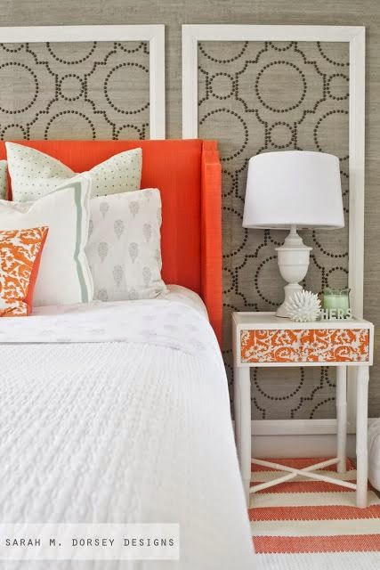 paneled headboard design pop of color orange bedroom
