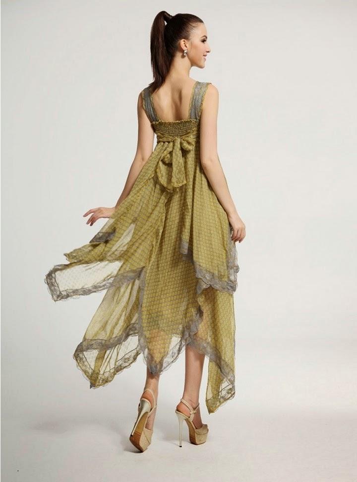 Vestido Informal de Gasa con Falda en Capas
