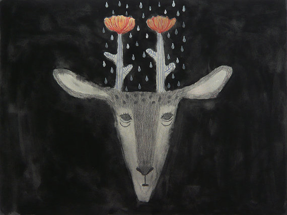 Tetsuhiro-Wakabayashi-cervo-fiori-illustrazioni-disegno-infantile