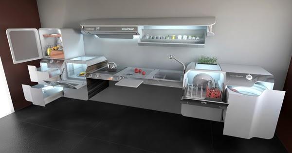 Cuisine design et futuriste blanche