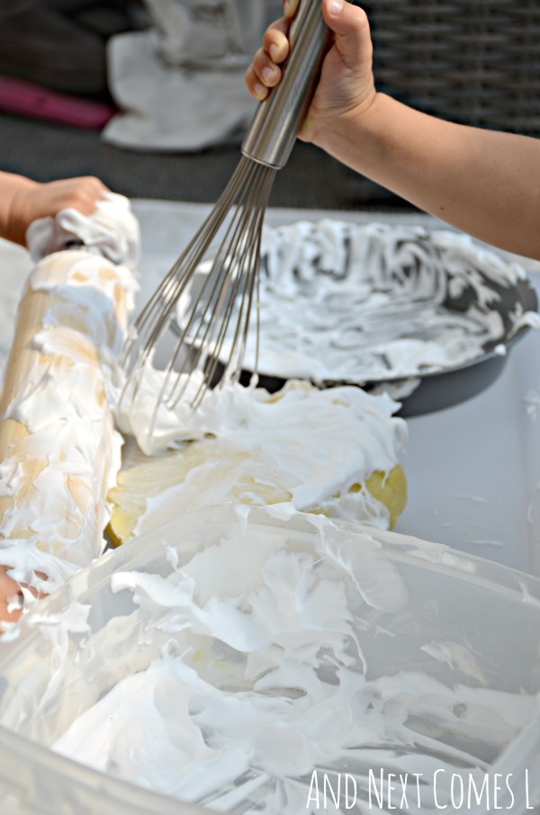 Messy sensory play for toddlers and preschoolers with lemon scented play dough and shaving cream from And Next Comes L