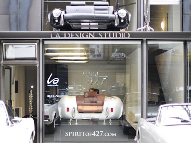 Spirit of 427 collection is a design and creation by LA design studio.  Think of retro car shaped home furniture such as sofa,