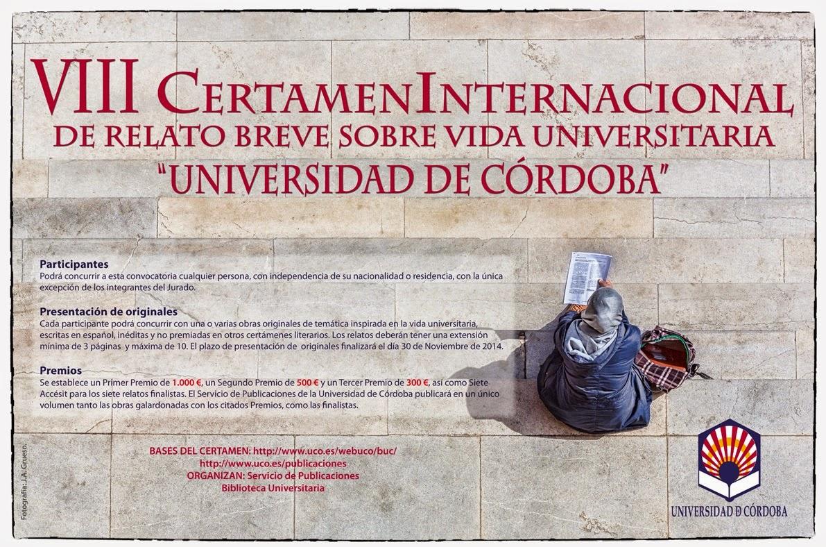 VIII Certamen de Relato Breve sobre Vida Universitaria de la Universidad de Córdoba.
