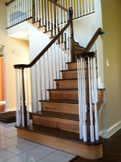 staircase builder - railing and step treads installed, stained. new jersey, nj