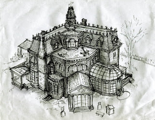Blitzkrieg Intermission  Drawing The Addams Family House      So at the end of the day all I have is the black and white screen grabs of the exterior of the house from the show  I    m still trying to figure out