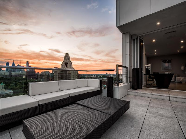 Photo of sunset above Philadelphia as seen from the terrace