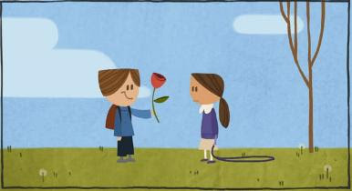 Boy proposing with red rose