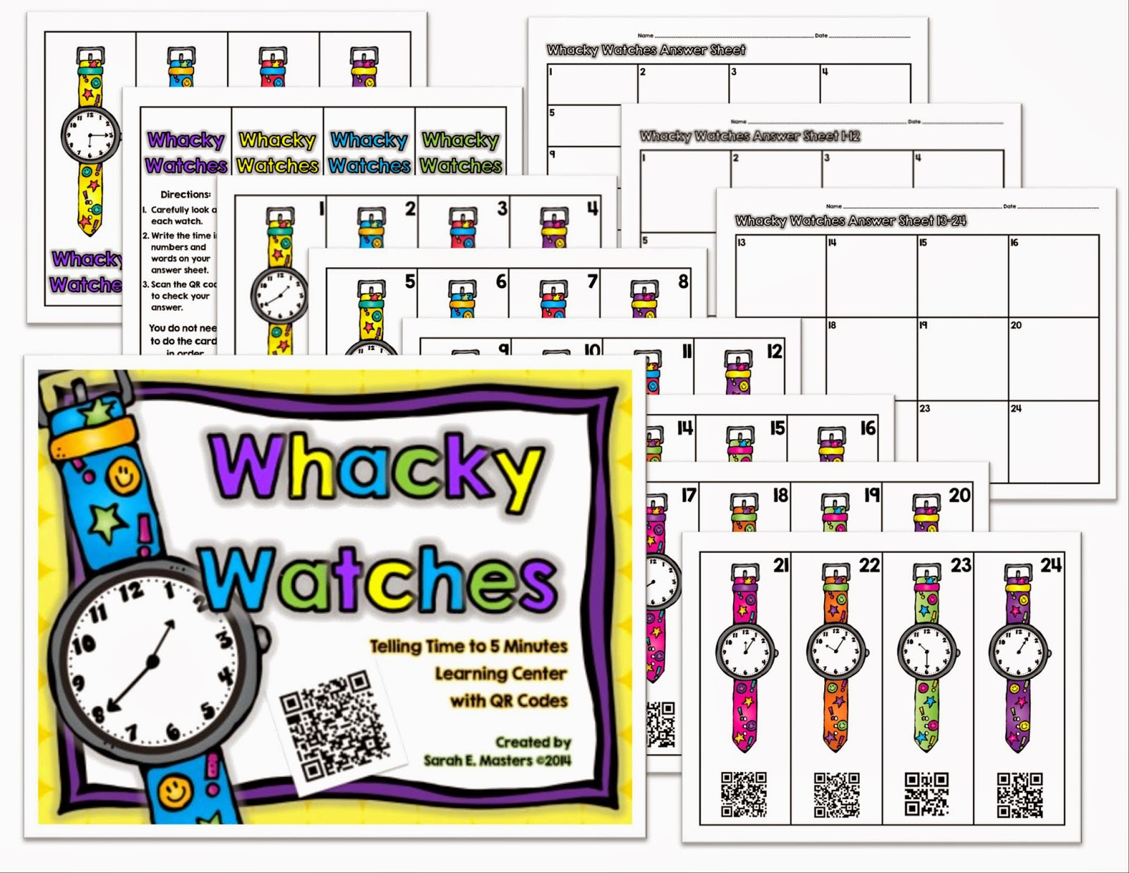 http://www.teacherspayteachers.com/Product/Whacky-Watches-Telling-Time-to-5-Minutes-Math-Center-with-QR-Codes-1177428