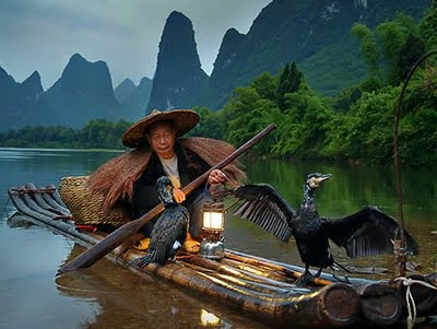 Estampas de China, pesca con cormoranes