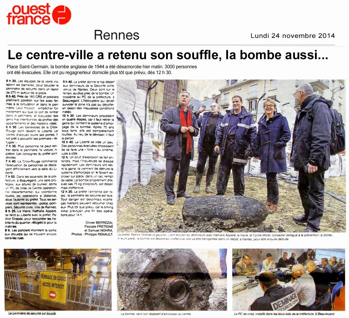 """Le centre-ville a retenu son souffle, la bombe aussi..."" - Ouest-France - Lundi 24 novembre 2014"