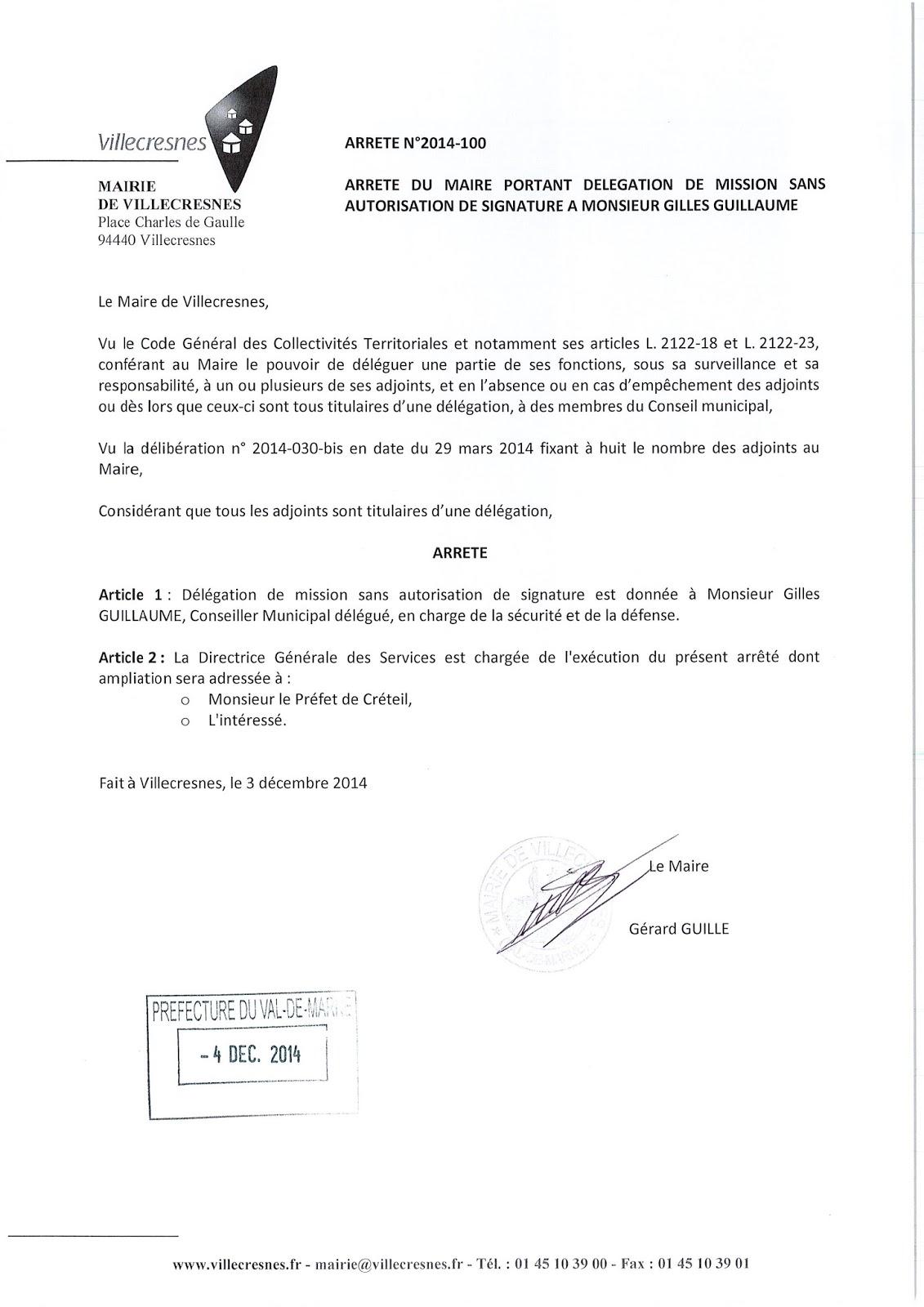 2014-100 Délégation de fonction mission sans autorisation de signature à Monsieur Gilles Guillaume