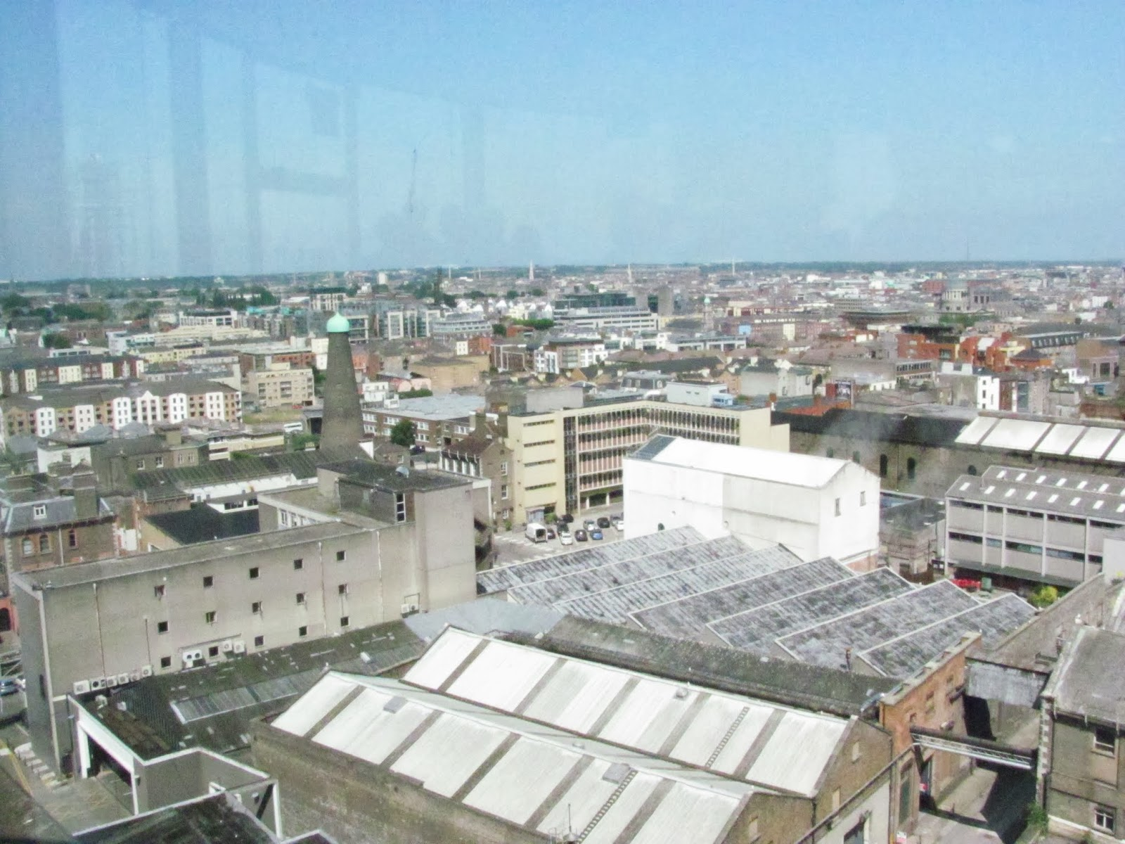 Dublin is seen from a high viewpoint from the gravity bar on the top floor of the Guinness Storehouse, Dublin, Ireland