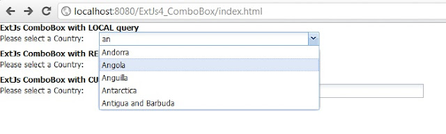 ExtJs 4 ComboBox using Java Servlet JSON object and MySQL database