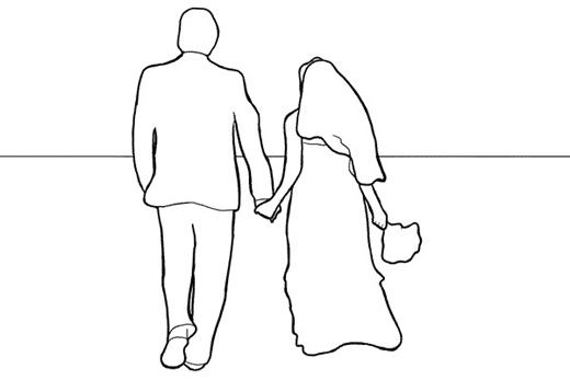 невеста и жених со спины