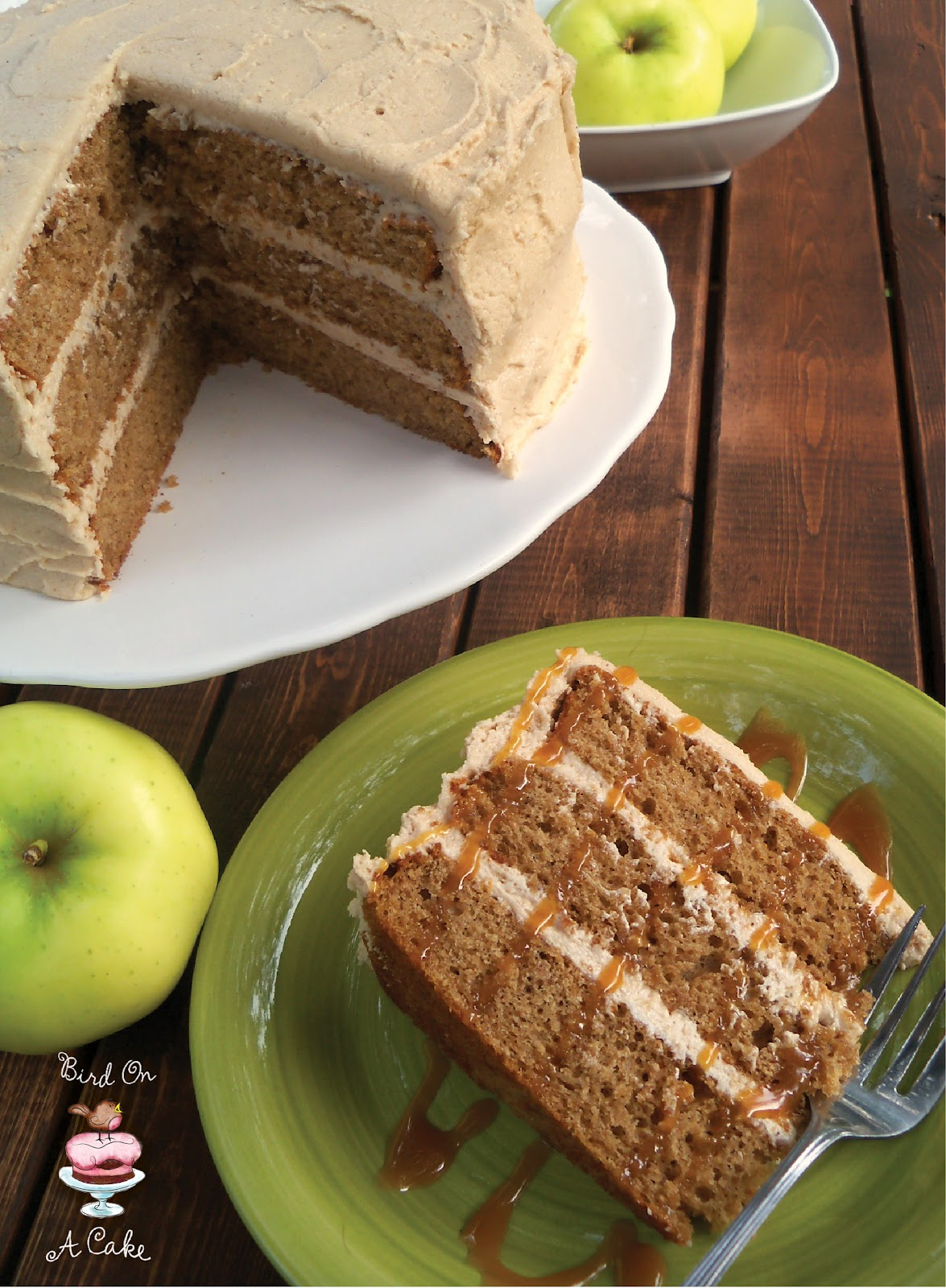 Apple Cider Spice Cake with Apple Butter Frosting by Bird On A Cake