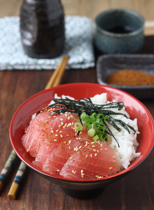 Tuna Sashimi Rice Bowl with Japanese Seven Spice by SeasonWithSpice.com