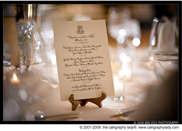 Wedology by dejanae events january 2012 for Table 9 menu