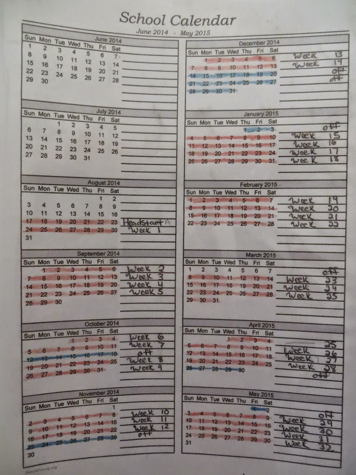 Homeschool Calendar