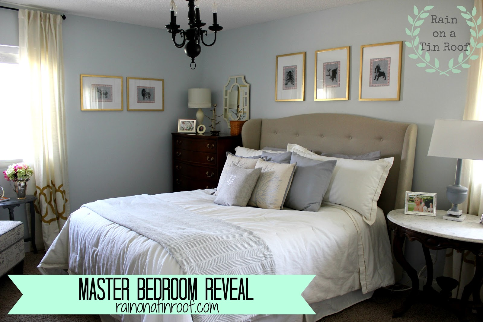 Master Bedroom Makeover Reveal {rainonatinroof.com} #masterbedroom  #makeover #reveal #