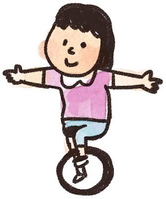 一輪車のイラスト「女の子」