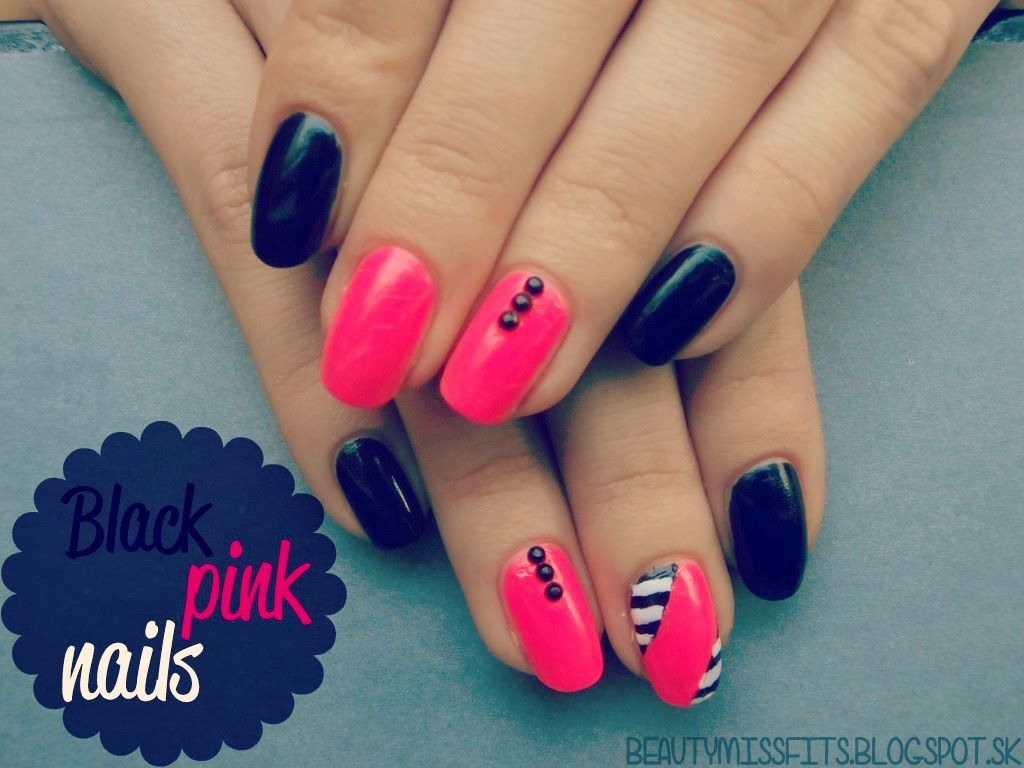 Nail Art Inspiration - Black & Pink