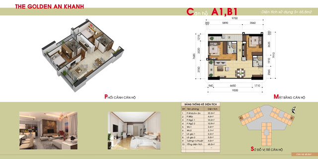 Thiết kế căn hộ 2PN chung cư The Golden An Khánh
