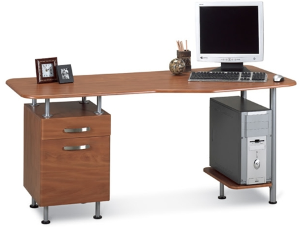 Mayline Eastwinds Cherry Computer Desk with Pedestal