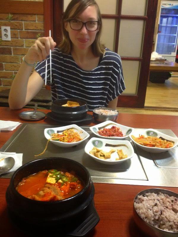 Korean meal at restaurant