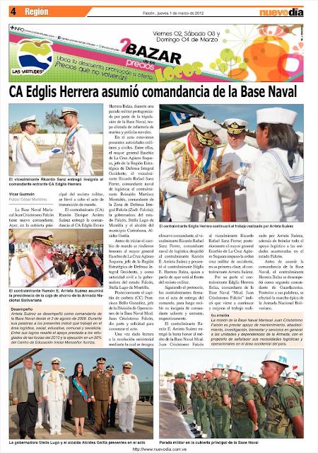 Base Naval Juan Crisóstomo Falcón tiene nuevo Comandante