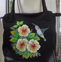 orchid and hummingbird embroidery bag