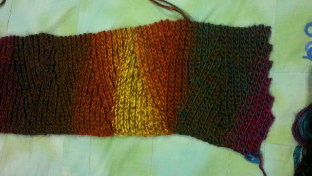 """Slip Slope Scarf"" with a kink in it from a crochet error."