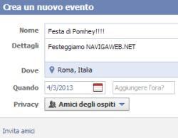 Come si creano eventi Facebook