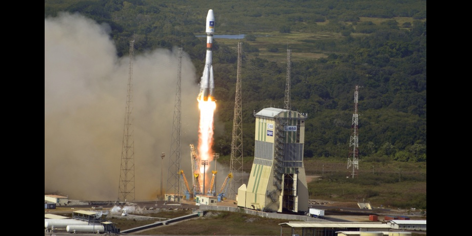A Soyuz rocket launch from Kourou Spaceport. Credit: ESA