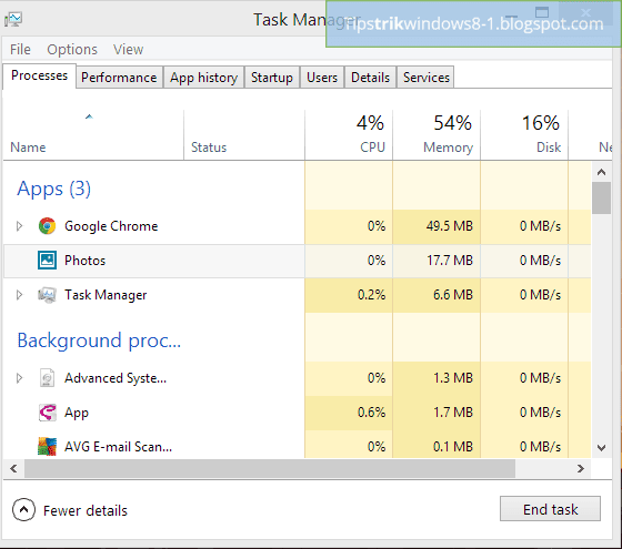 task manager di windows 8.1 menunjukan aplikasi metro masih berjalan dalam background