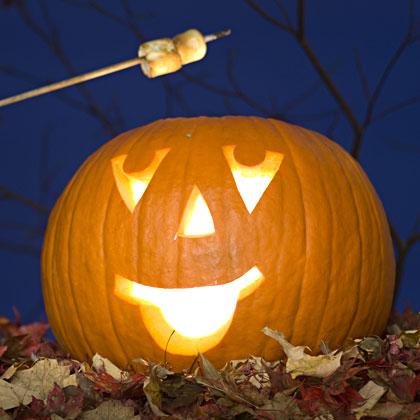 усмихнат тиквен фенер за Halloween