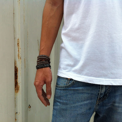 DIY: How To Make Chan Luu Style Men's 5 Wrap Bracelet - Antique Gunmetal Wrap Bracelet On Red Brown Leather