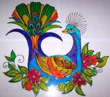 My world of art craft how to do reverse glass painting for Easy glass painting pictures