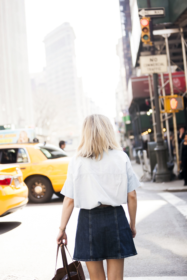 AC for AG denim mini skirt, Flatiron building, New York City