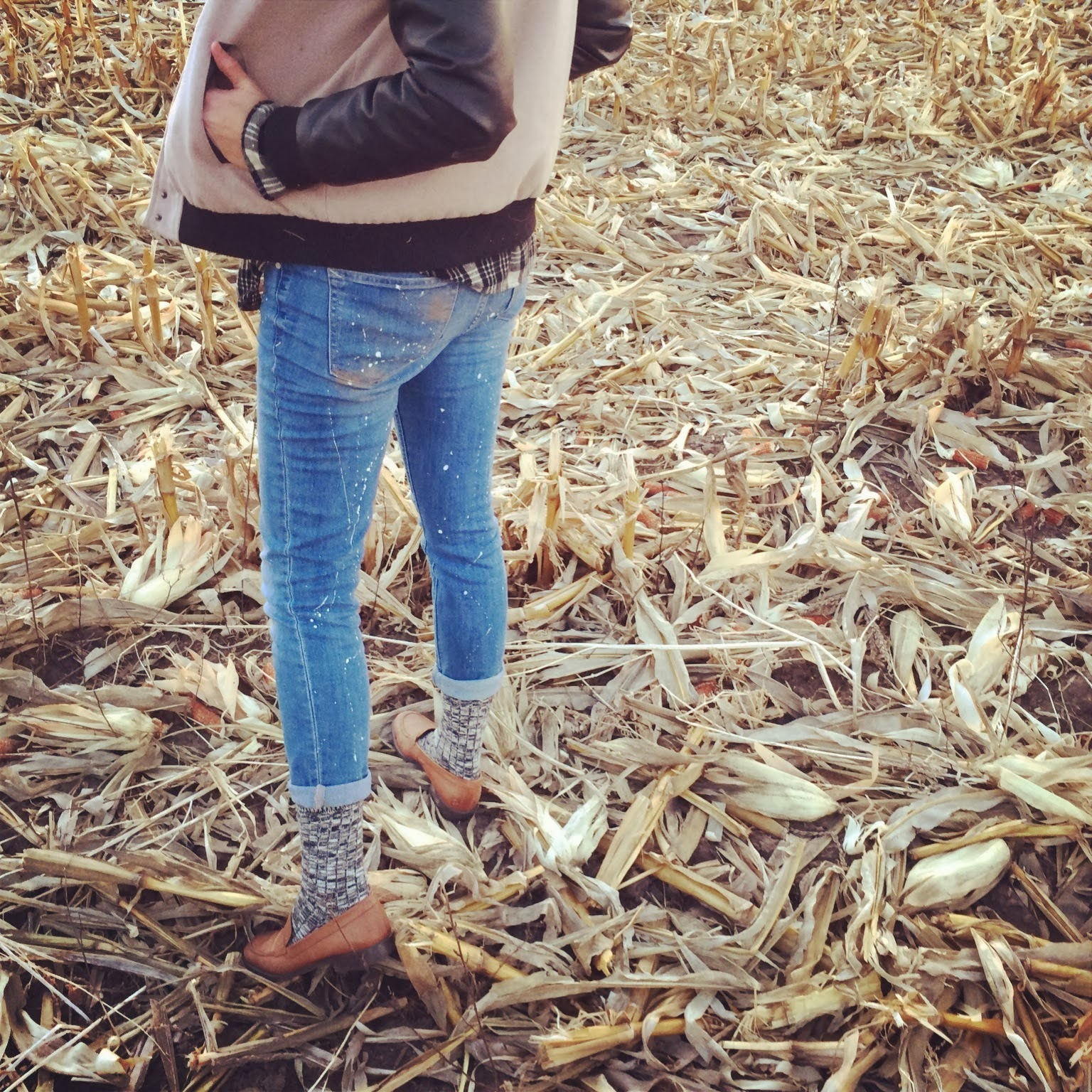 Nebraska, cornfield, Madewell, Topshop, Plaid, Denim, Fashion, Casual, Roots, Marled, Penny Loafers