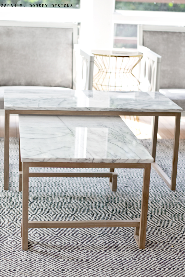 Sarah m dorsey designs marble nesting tables for the for Marble coffee table design