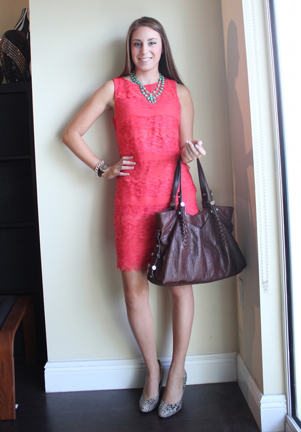 professionally petite, lawyer fashion blog, coral lace dress, snake print pumps, amrita singh necklace, michael kore tortoise watch